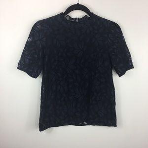 H&M Dark Navy Blue Lace Blouse Size S